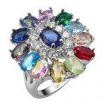 Redan And Purple Crystal Zircon Simulated Emerald Morganite Multi Color 925 <b>Sterling</b> <b>Silver</b> <b>Ring</b> Size 6 7 8 9 10 11 12 F1545