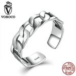VOROCO Simple Strackable Twine Chain Pattern <b>Rings</b> Cuff Open Adjustable 925 <b>Sterling</b> <b>Silver</b> <b>Ring</b> for Woman Fine Jewelry VSR036