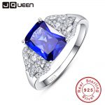 JQUEEN 3 Carats Blue Tanzanite Stone 925 <b>Sterling</b> <b>Silver</b> <b>Ring</b> Emerald Cut Wedding Party Trendy Jewelry Accessories With Gift box