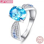 Jrose 4.1ct Oval Cut Elegant Love Knot Blue CZ 925 <b>Sterling</b> <b>Silver</b> Engagement <b>Ring</b> Fine Jewelry Sz 6-9 Gift with Box