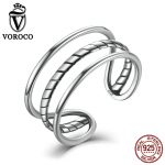 VOROCO Trendy Minimalist 100% 925 <b>Sterling</b> <b>Silver</b> <b>Rings</b> Simple Triple Wedding Bands Adjustable Cuff <b>Ring</b> for Women Fine Jewelry