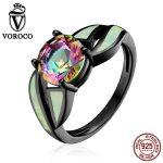 VOROCO Popular Black Plated 925 <b>Sterling</b> <b>Silver</b> <b>Rings</b> Glass & Opal Gemstone Finger <b>Ring</b> for Women Fine Jewelry