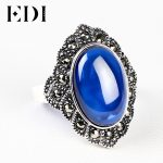 EDI Retro 925 <b>Sterling</b> <b>Silver</b> Inlay Red Garnet Big Oval <b>Rings</b> For Women Jewelry Vintage Punk Style Handmade Bijoux