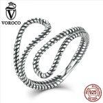 VOROCO Authentic 925 <b>Sterling</b> <b>Silver</b> <b>Rings</b> Simple Stylish Rope Winding Irregular Adjustable Open Cuff <b>Ring</b> Women Fine Jewelry