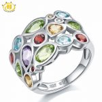 Hutang Punk Multicolor Peridot Mix Gemstone Jewelry Solid 925 <b>Sterling</b> <b>Silver</b> <b>Ring</b> for Women Cocktail Engagement <b>Ring</b> Gift 2017