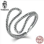 VOROCO <b>Sterling</b> <b>Silver</b> 925 minimalist Rope Winding Simple Stylish Cuff Open Adjustable <b>Ring</b> Woman Fine Jewelry Gift VSR041