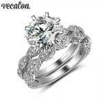 Vecalon 2016 Vintage Engagement wedding Band <b>ring</b> Set for women 3ct AAAAA Zircon cz 925 <b>Sterling</b> <b>Silver</b> Female Party <b>ring</b>