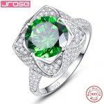 Jrose 6.5ct Created Emerald 925 <b>Sterling</b> <b>Silver</b> <b>Rings</b> Round Cut Flower Design Engagement <b>Ring</b> Wholesale Gift Box Free Shipping