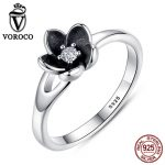 VOROCO HOT SELL Floral Flower <b>Silver</b> <b>Ring</b> For Woman Clear CZ Round Stone Female <b>Rings</b> 925 <b>Sterling</b> <b>Silver</b> Jewelry anillos P7154