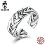 VOROCO Fine Jewelry 925 <b>Sterling</b> <b>Silver</b> Triple Twisting Braided Band Party <b>Rings</b> Cuff Open Adjustable Stackable <b>Ring</b> for Women