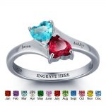 Personalized Name <b>Ring</b> Double Heart Birthstone 925 <b>Sterling</b> <b>Silver</b> Engrave Jewelry Mother Daughter <b>Rings</b> (RI101789)
