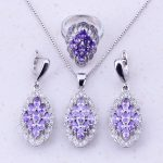 Glamorous Purple Crystal Cubic Zircon 925 <b>Sterling</b> <b>Silver</b> Jewelry Sets For Women Wedding Party Fashion Jewelry J0029
