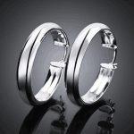 Fashion 925 <b>Sterling</b> <b>Silver</b> Women Round Hoop <b>Earrings</b> Women Female Ear Jewelry Wedding Party Gift Not Allergic
