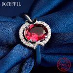 AAAA Red Zircon <b>Ring</b> 100% <b>Sterling</b> <b>Silver</b> Fashion Charm <b>Rings</b> Woman Luxury 925 <b>Silver</b> Jewelry <b>Ring</b>