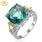Hutang Big Cocktail <b>Rings</b> 925 <b>Sterling</b> <b>Silver</b> Jewelry Natural Green Fluorite Peridot Women <b>Rings</b> High Quality Fine Jewelry Bague