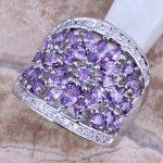 Purple Cubic Zirconia White CZ 925 <b>Sterling</b> <b>Silver</b> <b>Ring</b> For Women Size 6 / 7 / 8 / 9 / 10 / 11 S0182