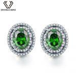 DOUBLE-R 925 <b>sterling</b> <b>silver</b> stud earrings for women Created Emerald Gemstone Bridal Vintage costume Jewelry