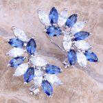 Blue Cubic Zirconia White CZ 925 <b>Sterling</b> <b>Silver</b> Clip Huggie <b>Earrings</b> For Women S0238