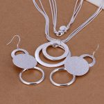 High quality 925 stamped <b>silver</b> plated Fashion Jewelery Sets Double O necklace+<b>earrings</b> Jewelry Bijoux Wholesale Free Shipping