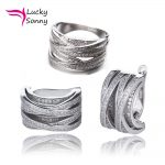 Top Brand Lucky Sonny X <b>Ring</b> Earrings Set Solid 925 <b>Sterling</b> <b>Silver</b> Jewelry For Wedding Gift (1 pcs <b>ring</b> and1 pair earrings)
