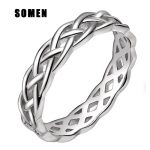 100% 925 <b>Sterling</b> <b>Silver</b> <b>Rings</b> Trinity Knot Eternity Band Engagement Wedding Band 4mm Compatible with European Style Jewelry