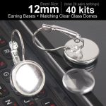 40pcs 12mm <b>Earring</b> Cabochon Setting <b>Sterling</b> <b>Silver</b> Plated Hook <b>Earrings</b> Blanks Back <b>Earring</b> Clasps <b>Earring</b> Blanks