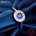 Edge of love 100% <b>Sterling</b> <b>Silver</b> Woman <b>Rings</b> High Quality Charm Round Blue Zircon <b>Rings</b> Jewelry