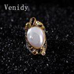 Venidy Natural Baroque Pearl <b>Ring</b> Inlay Tourmaline Fashion New White Pearls Jewelry Vintage Wedding <b>Rings</b> For Women Anniversary