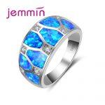 Jemmin Valentine's Day Gift Blue Opal Men <b>Rings</b> With Rhinestone Vintage S925 <b>Sterling</b> <b>Silver</b> Wedding Engagement <b>Ring</b> For Woman