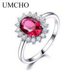 UMCHO Real 925 <b>Sterling</b> <b>Silver</b> Nano Red Gemstone Ruby Princess Diana <b>Rings</b> For Women Wedding Party Gift 2018
