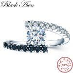 [BLACK AWN] Vintage 2.9g 925 <b>Sterling</b> <b>Silver</b> <b>Rings</b> Fine Jewelry Black Spinel Wedding <b>Rings</b> for Women Femme Bijoux Bague C011