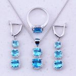 Outstanding Sky Blue Crystal 925 <b>Sterling</b> <b>Silver</b> Square Jewelry Sets For Women Party Fashion Jewelry Free Gift Box J0042
