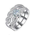 Women Wedding <b>Ring</b> Sets Solid 925 <b>Sterling</b> <b>Silver</b> Jewelry 1ct Cubic Zirconia Brilliant Round Ladies Infinity Marriage <b>Rings</b>