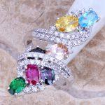 Sweet Multicolor Green Cubic Zirconia 925 <b>Sterling</b> <b>Silver</b> <b>Ring</b> For Women Size 5 / 6 / 7 / 8 / 9 / 10 / 11 / 12 S0219