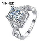 YINHED Infinite Love Wedding <b>Ring</b> Real Solid 925 <b>Sterling</b> <b>Silver</b> 2.5 Carat Zircon CZ Diamant Engagement <b>Rings</b> for Women ZR213