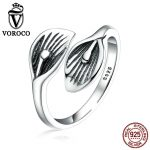 VOROCO Retro Style Authentic 925 <b>Sterling</b> <b>Silver</b> Jewelry Leaf Flower Open Adjustable Finger Cuff <b>Rings</b> for Women Gift