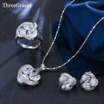 ThreeGraces New Fashion 925 <b>Sterling</b> <b>Silver</b> Jewelry Sets Cubic Zirconia Knot <b>Earrings</b> Necklace And Ring Set For Women JS124