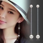 <b>Earring</b> post long chain 925 <b>sterling</b> <b>silver</b> white artificial pearls nickel-free women and girls simple fashion jewelry