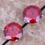 Superb Red Garnet 925 <b>Sterling</b> <b>Silver</b> Stud <b>Earrings</b> For Women 10mm S0213