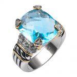 Simulated Aquamarine 925 <b>Sterling</b> <b>Silver</b> High Quantity <b>Ring</b> For Men and Women Size 6 7 8 9 10 F1338