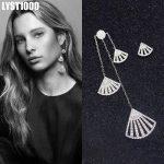 LYST1000 Jewelry Fashion Europe America 925 <b>Sterling</b> <b>Silver</b> Stud <b>Earrings</b> For Women Sector With CZ Asymmetric Long <b>Earring</b>