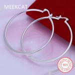 Fashion 925 <b>Silver</b> Ear Creole Round 5.5cm Big circles Hoop <b>Earrings</b> Prata Princo Punk <b>Silver</b> Plated Women Girls