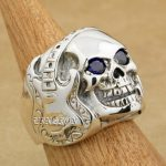 Guitar Music Skull 925 <b>Sterling</b> <b>Silver</b> Purple Colour CZ Eyes Mens Biker Rocker Punk <b>Ring</b> 8V313 US Size 7 to 15