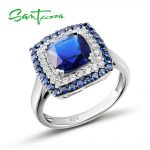 SANTUZZA <b>Silver</b> <b>Ring</b> For Women 925 <b>Sterling</b> <b>Silver</b> Lord of <b>Ring</b> for Ladies Blue Nano Cubic Zirconia <b>Ring</b> Party Fashion Jewelry