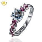 Hutang Diamond-Jewelry Fine Statement <b>Rings</b> for Women Natural Aquamarine & Rhodolite Solid 925 <b>Sterling</b> <b>Silver</b> <b>Ring</b> Wedding Gift