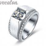 Vecalon 2016 New wedding Band <b>ring</b> for Men 2ct Cz Birthstones 925 <b>Sterling</b> <b>Silver</b> male Engagement Finger <b>ring</b> fashion Jewelry