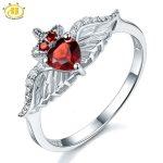 Hutang Solid 925 <b>Sterling</b> <b>Silver</b> 0.64ct Natural Garnet & White Topaz Wedding <b>Ring</b> Women's Gemstone Fine Jewelry 2017 New