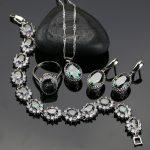 Mystic 925 <b>Sterling</b> <b>Silver</b> Women Jewelry Sets With Rainbow Fire Cubic Zirconia Pendant/Earrings/<b>Ring</b>/Necklace/Bracelet Gift Box