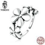 VOROCO Exquisite Real 925 <b>Sterling</b> <b>Silver</b> Flower Poetic Daisy Cherry Blossom Finger <b>Ring</b> for Women Engagement Jewelry VSR063