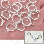 Bulk Jewelry Findings 100PCS Genuine Real Pure Fine 925 <b>Sterling</b> <b>Silver</b> Round Lever Back Ear For <b>Earrings</b> Design 925 Stamped